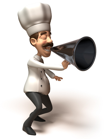 Cartoon chef shouting into megaphone