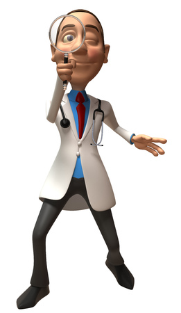 convenient: Cartoon doctor with magnifying glass