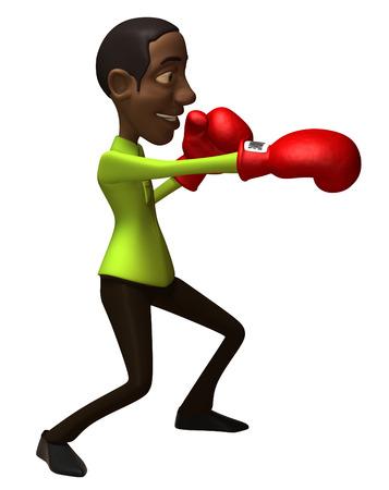 Cartoon casual man punching Stock Photo