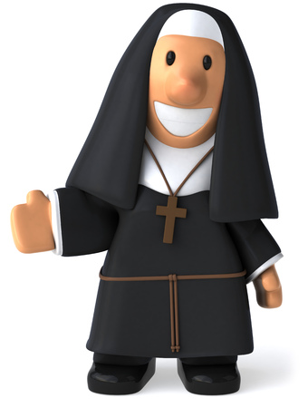 Cartoon nun standing Stock Photo