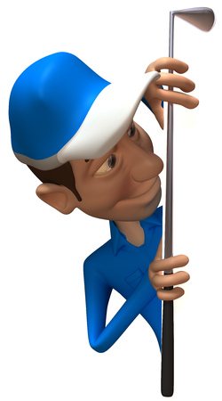 Golfer character appearing from a wall Stock Photo