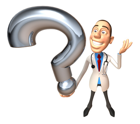 Doctor character holding a question mark