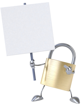 signage: Padlock character holding a signboard