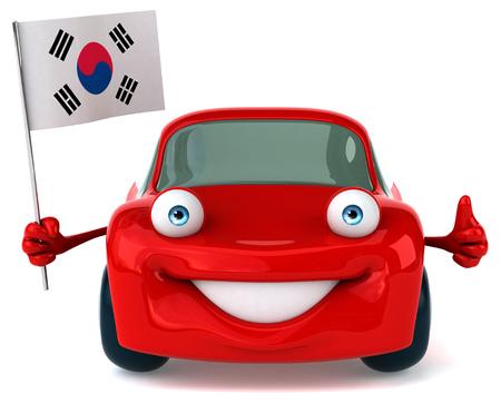 korea flag: Fun car