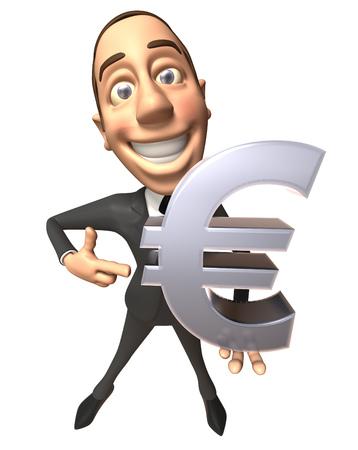 Businessman showing a euro symbol Stock Photo