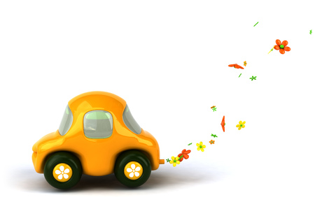 Car character with flowers