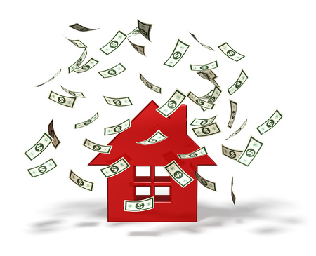 real estate house: Money falling on a house icon Stock Photo