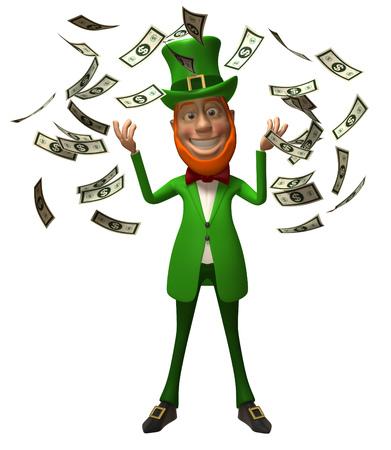 salarios: Leprechaun tirar dinero Foto de archivo