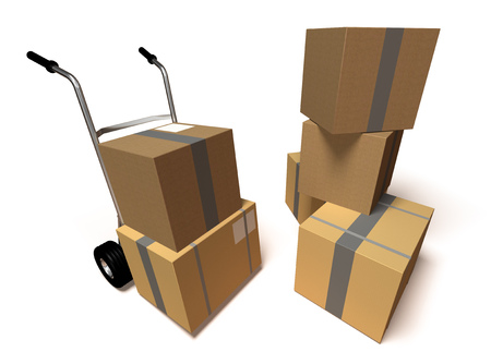 Logistic boxes and trolley