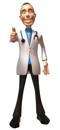 Doctor character showing thumbs up Stock Photo