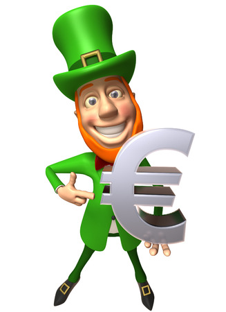Leprechaun showing euro symbol