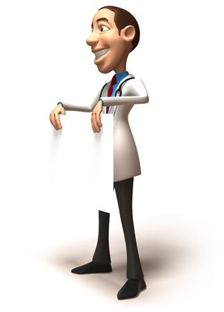 Doctor character holding a placard Stock Photo