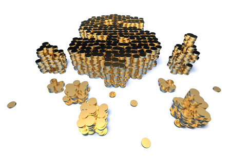 Coins stacked in the shape of a dollar symbol Stock Photo