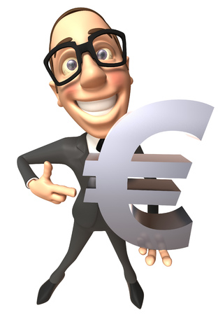 Businessman with spectacles showing a euro symbol