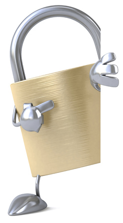 Padlock character Stock Photo