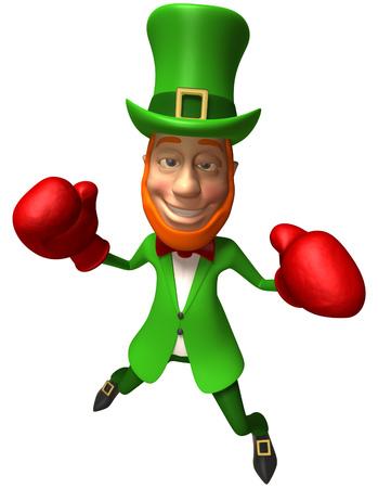 Leprechaun with boxing gloves Stock Photo