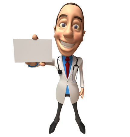 Doctor character showing a name card