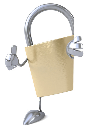 key hole: Padlock character showing thumbs up