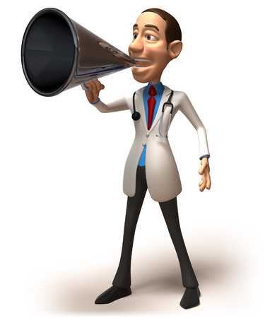 work clothes: Doctor character using megaphone Stock Photo