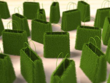 Gras boodschappentassen