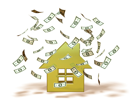 floating: Money falling on a house icon Stock Photo