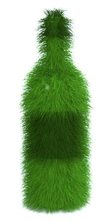 Wijnfles van gras