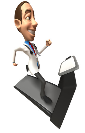 Doctor character running on treadmill Stock Photo