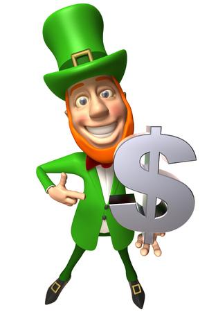 Leprechaun holding a dollar sign Stock Photo