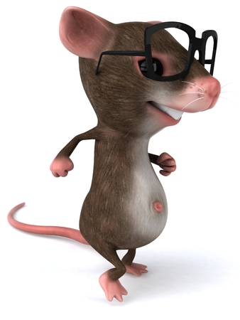 Mouse character with spectacles Stock Photo