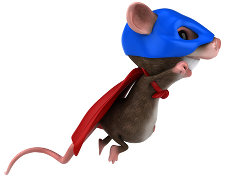 Mouse character in super hero costume