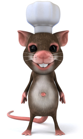 Mouse character with chef hat Stock Photo