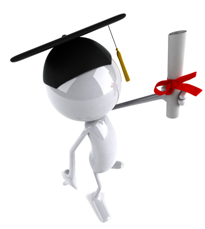 3D character with graduation hat and scroll Stock Photo