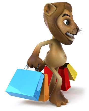 big foot: Lion character holding shopping bags