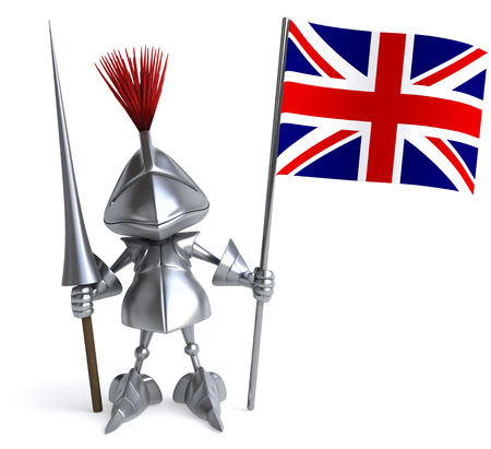 Knight with weapon of joust holding a UK flag Stock Photo