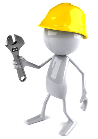 3D character with hard hat holding wrench Stock Photo