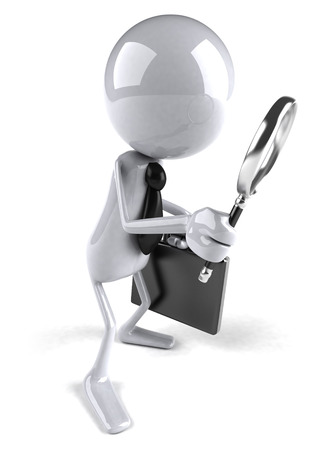 3D character in business attire with magnifying glass