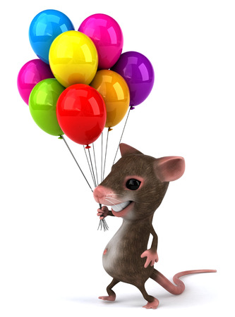 Mouse character holding a bunch of balloons