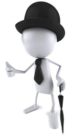 3D character holding an umbrella