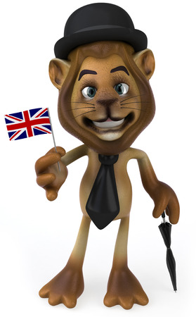 big foot: Lion character in gentleman attire holding a UK flag Stock Photo
