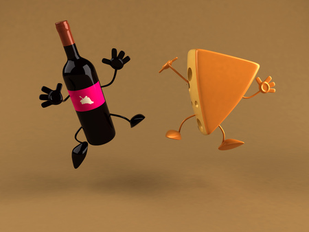cheddar: Wine bottle character and cheese character