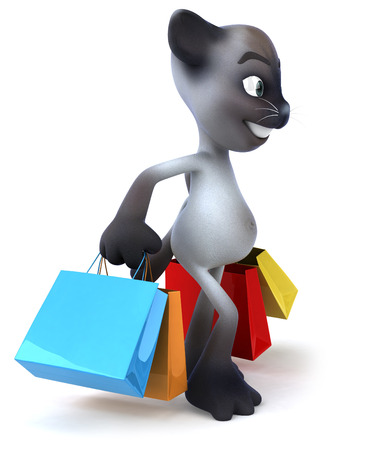 Cat character holding shopping bags