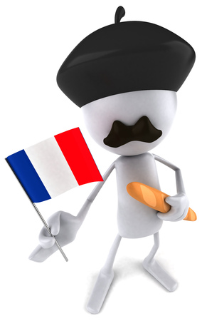 staple: French 3D character with flag and baguette
