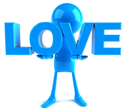 3D character holding the word love Stock Photo