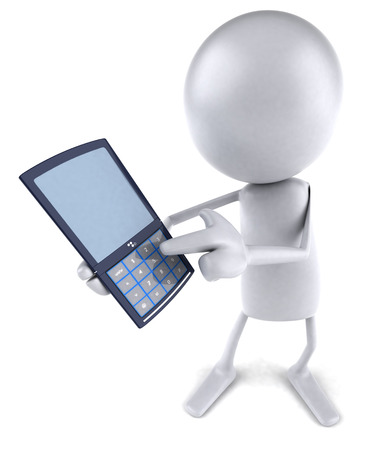 3D character showing a mobile phone