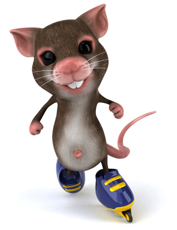 Mouse character on roller skates