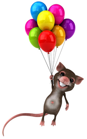 floating: Mouse character holding a bunch of balloons