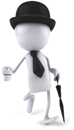 紳士服装の歩行の 3 D 文字