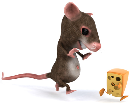 Mouse character chasing cheese character