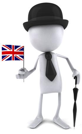 3D character in gentlemen attire holding a UK flag