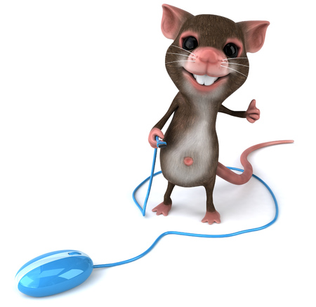 Mouse character with an optical mouse showing thumbs up